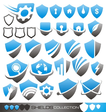 Security shield - symbols, icons and logo concepts collection Stock Vector - 15886746
