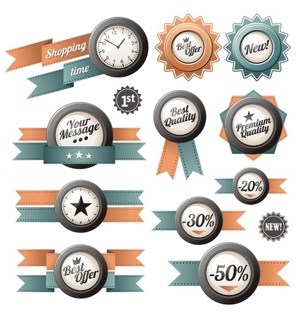 Vintage and retro promotional labels, ribbons, buttons, icons, signs and design elements Stock Vector - 15886753