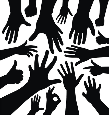 give hand: Hand silhouettes Illustration