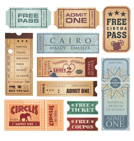Vintage and retro tickets set Vector