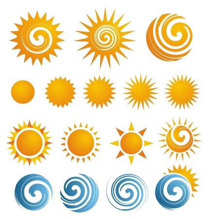 el sol: Dom conjunto de iconos Vectores