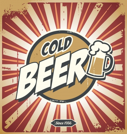 cerveza: Cartel cerveza Vintage Vectores
