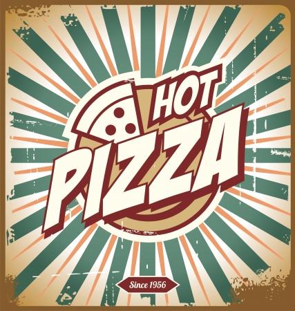 caja de pizza: Dise�o del signo de la pizza, fondo, plantilla o caja de pizza de la vendimia
