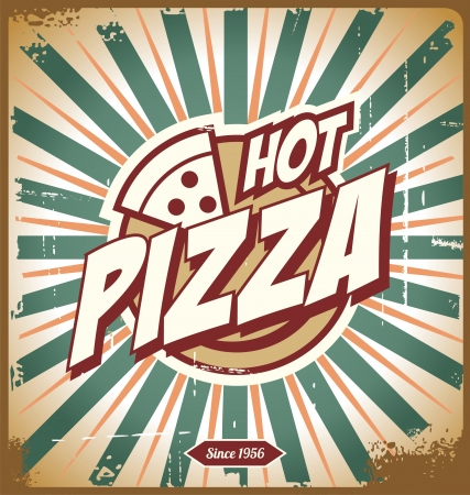 Vintage pizza sign, background, template or pizza box design Vector