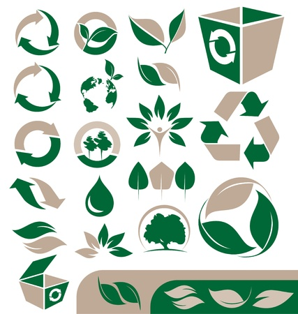 Set of ecology and recycle icons, signs, symbols and logo designs Vector