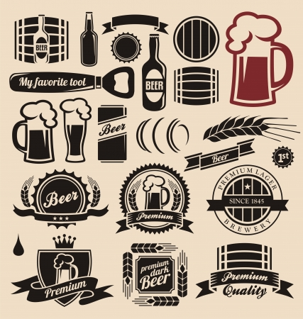 Beer icons, labels, signs, logo designs and design elements Vector