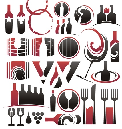 Set of wine icons, symbols, signs and logo designs Vector