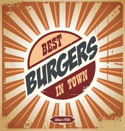 Signo hamburguesa Retro, plantilla cartel de la vendimia Ilustración de vector