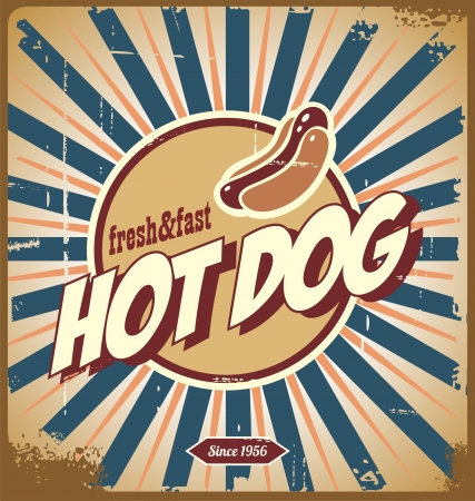 hot dog label: Hot dog vintage sign Illustration