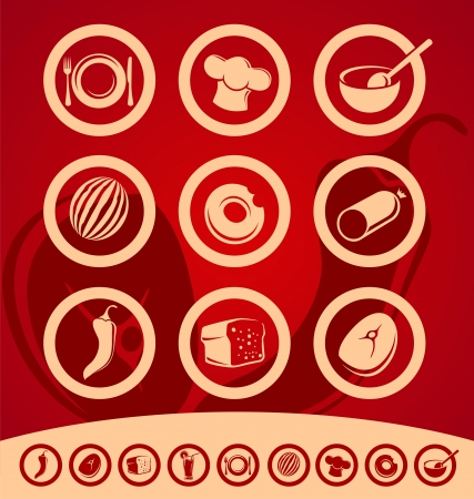 steak beef: Set of food icons and design elements