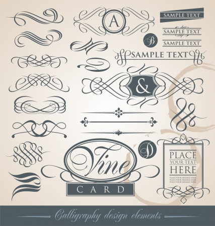 vine border: Set of calligraphic elements and page decorations