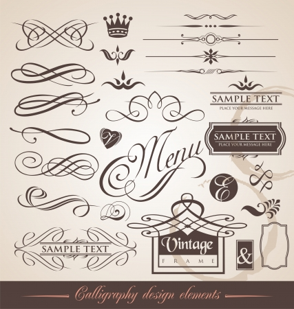 initials: set of calligraphic elements and page decorations