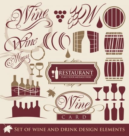 logos restaurantes: Vino y bebidas elementos de dise�o Vectores