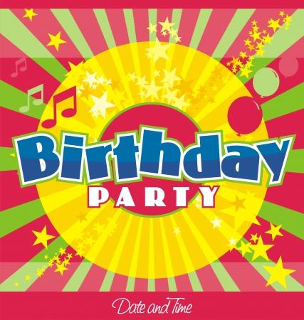 La fiesta de cumplea�os invitaci�n plantilla Foto de archivo - 16129240