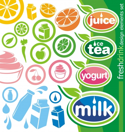 Set of fresh drink labels and icons Vector