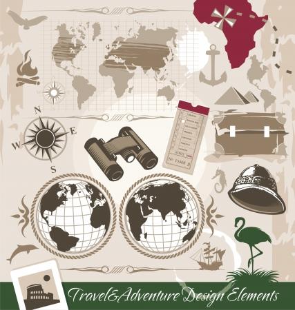 kijker: Reizen en Avontuur Design Elements Stock Illustratie