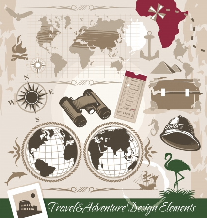 Travel and Adventure Design Elements Vector