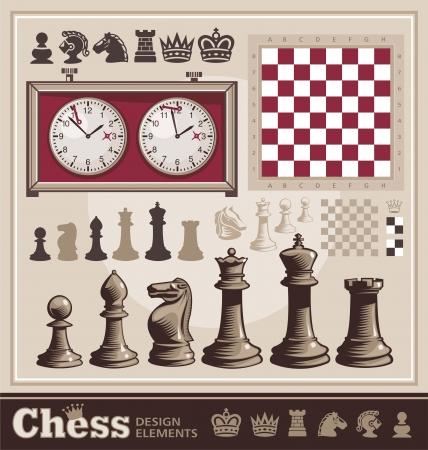 chess knight: Set di elementi di design di scacchi Vettoriali