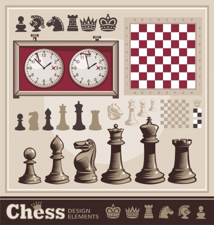 bishop chess piece: Set of Chess Design Elements Illustration