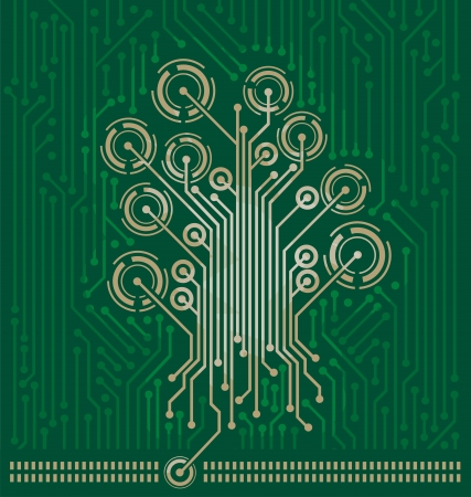 Tree made on circuit board Vector