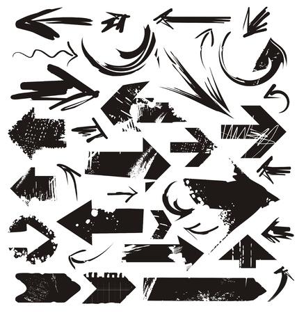 flecha derecha: Conjunto de flechas del grunge