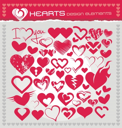 Heart icons, symbols and design elements set Vector