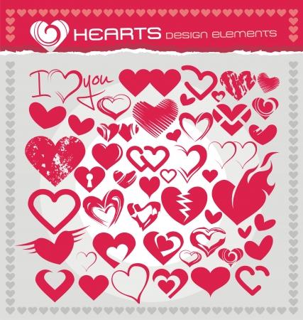 flame like: Heart icons, symbols and design elements set Illustration