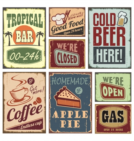 signs: Vintage style signs Illustration