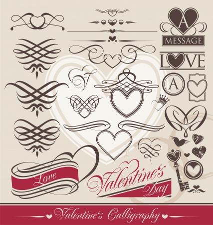 book logo: Elementos de dise�o caligr�fico para el D�a de San Valent�n s Vectores