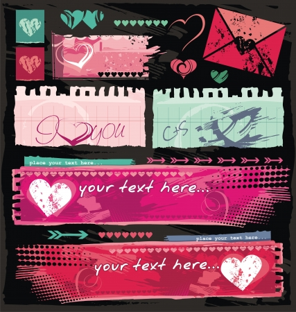 Grungy Valentine and dating site banners Vector
