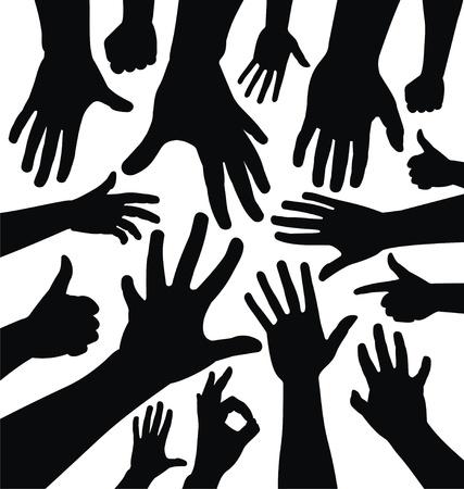 verkiezingen: Hand silhouetten Stock Illustratie