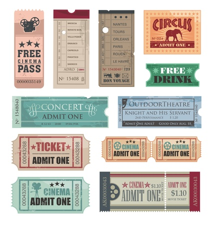 circus ticket: Vintage Tickets Illustration
