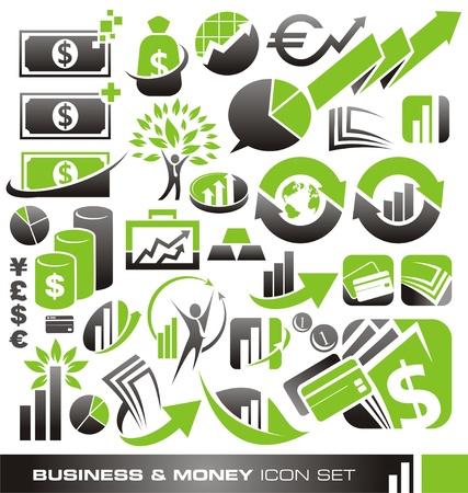 bank manager: Negocios y dinero conjunto de iconos y los conceptos de dise�o de logotipo Vectores