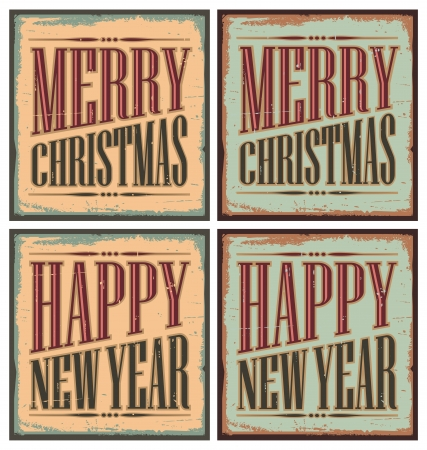 Vintage style Christmas tin signs or Christmas cards Stock Vector - 16255599