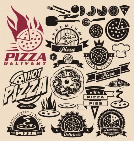 logos restaurantes: Iconos de pizza, etiquetas, signos, dise�os de logotipo y elementos de dise�o