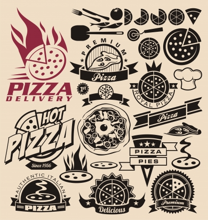 Pizza icons, labels, signs, logo designs and design elements Stock Vector - 16255600