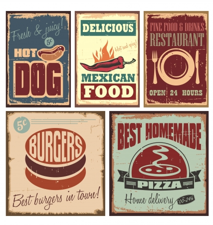 Vintage style tin signs and retro food posters Illustration