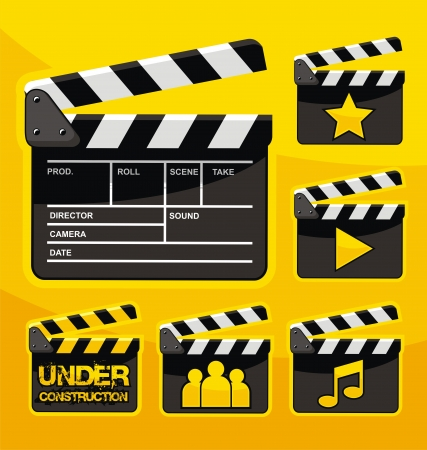 clapper board: Set of film clapboard design elements and icons Illustration