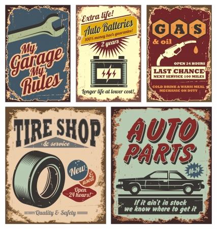 mekanik: Vintage bil metallskyltar och affischer