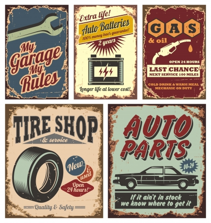 car in garage: Vintage car metal signs and posters  Illustration