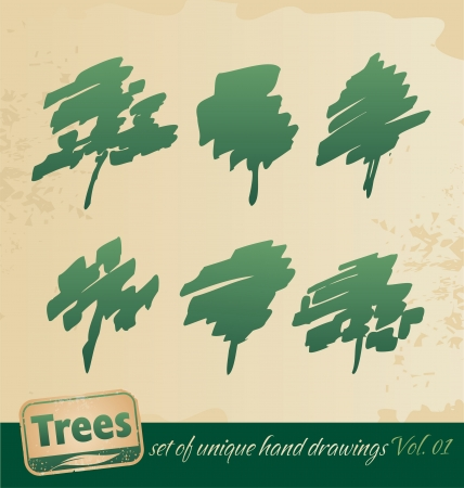 Trees -hand drawing set Vector