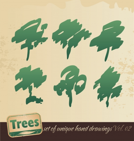 recycling logo: Trees -hand drawing set