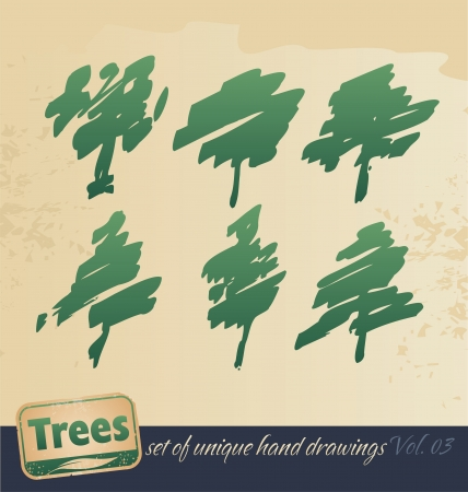 Trees - hand drawing set Vector