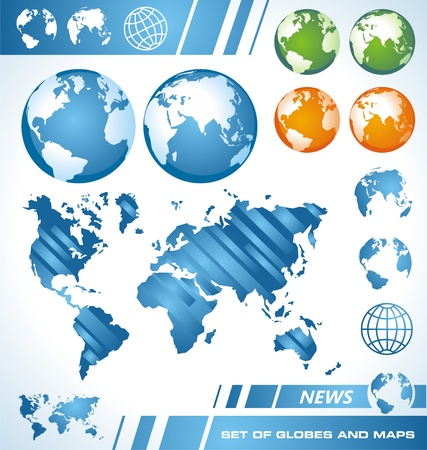 Set of globes and world maps Vector
