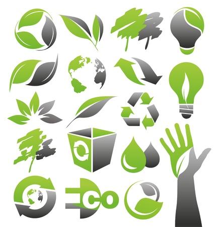 manos logo: Iconos de Ecolog�a verde conjunto de vectores