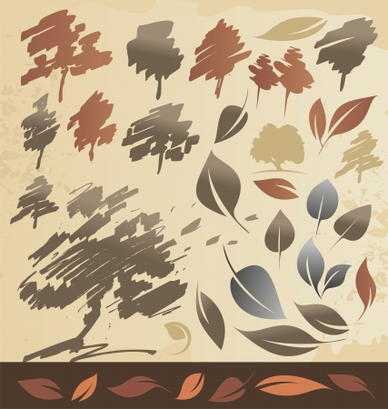 Trees and leaves - autumn collection Vector