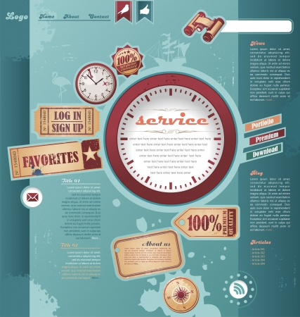 Web template with vintage and retro design elements Stock Vector - 16714752