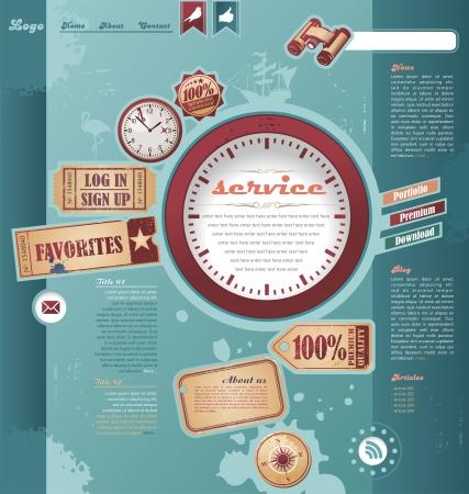 retro design elements: Web template with vintage and retro design elements