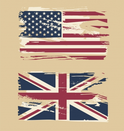 great britain flag: Grunge flags of USA and UK