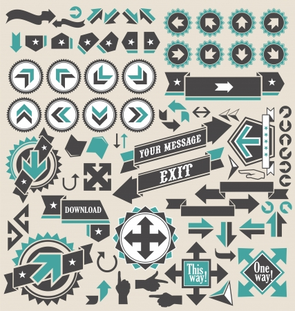 down arrow: Retro arrows icon set Illustration